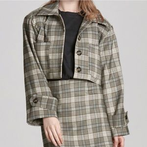 Storets plaid cropped blazer jacket